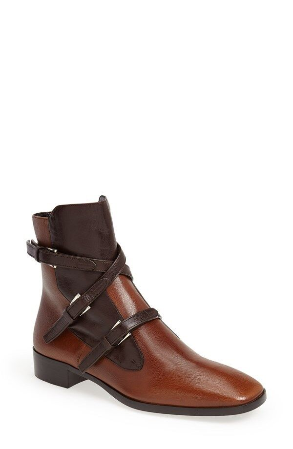 Nuevas Talla 6 36 Color de Bi Prada Prada Prada Cuero Marrón Hebilla De Tobillo botaie Mujer Zapatos  Precio por piso