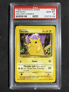 ?Pokemon PSA 10 Base Set Unlimited Non Holo Gem Mint Pikachu #58 Yellow Cheeks