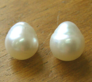 WHITE-SOUTH-SEA-PEARLS-PAIR-12-7mm-100-UNTREATED-CERT-AVAILABLE