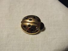 """Beautiful Brooch Pin Gold Tone Lady Bug Clear Rhinestone Black Enamel 1 3/8"""" WOW"""