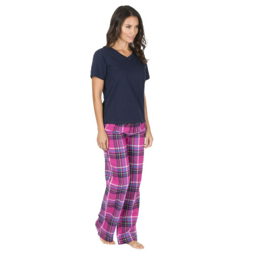 Ladies Pyjama Plain V Neck T Shirt Wide Legged Tartan Check Trousers Two Colours