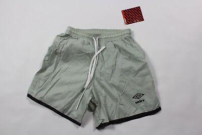 Vintage 80s New Umbro Mens Medium Spell Out Lined Nylon Soccer Shorts Black