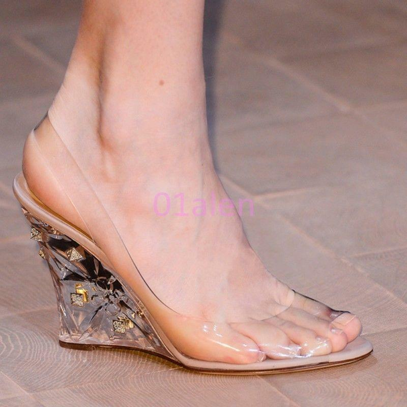 2017 HOT Ladies Transparent Wedge Heels Clear Peep Toe Slingbacks Party Sandals