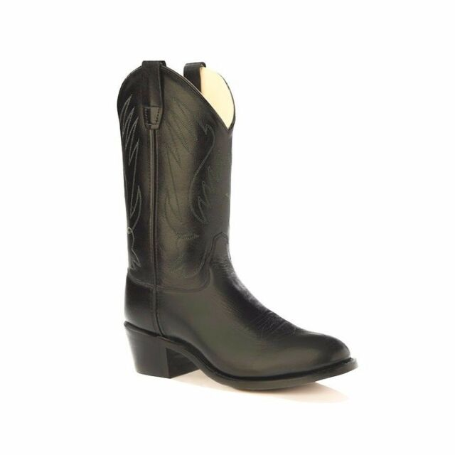 Old West Cowboy Boots Size 6 Boys Girls Kids Neolite Youth Black CCY1110 $72.83