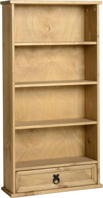Corona DVD Rack 1 Drawer Narrow Bookcase Wood Mexican Pine New Bookshelf