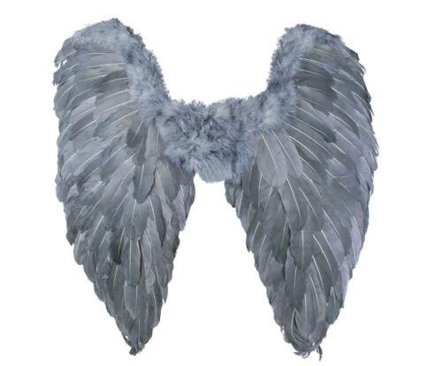 Grey Fallen Angel Wings Ladies Halloween Fancy Dress Costume Accessory