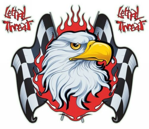 Sticker CHECKERED FLAG EAGLE Style BIKER HARLEY Made in USA