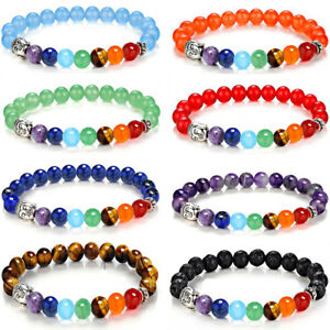 7-Chakra-8mm-Lapis-Lazuli-Buddha-Healing-Crystal-Stretch-Beaded-Bracelet-Unisex