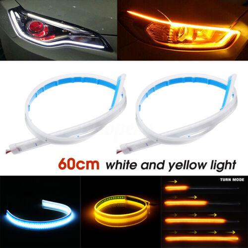 45//60cm LED Dynamic Streamer Strip Daytime Running DRL Light Turn Signal Lamp