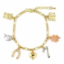 """14k Gold Plated 3 Color Good Luck Charms Figaro Chain Bracelet 8.5"""""""