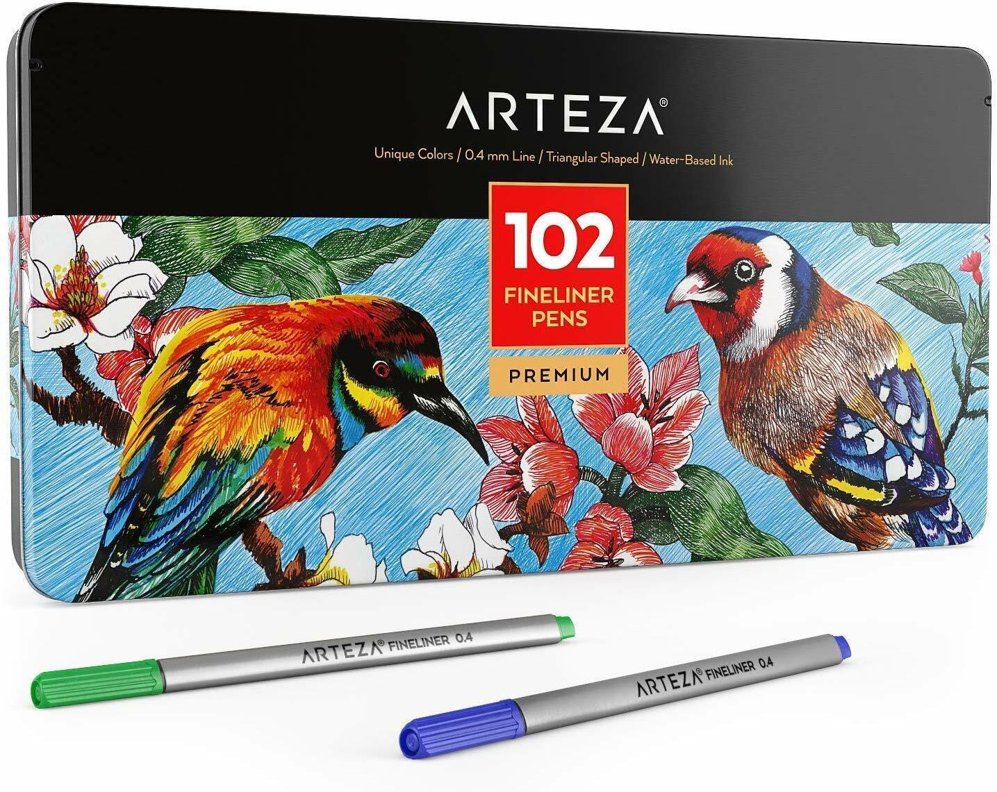 Fine Tip Markers 48 Assorted Colors Arteza Fineliner Fine Point Pens 0.4mm Tips, Set of 48