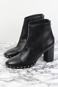 ALL SAINTS INEZ Black Leather Studded