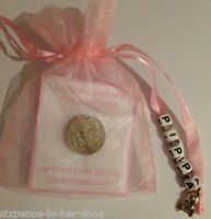 PERSONALISED LUCKY SIXPENCE - CHRISTENING DAY GIFT - BABY GIRL - Teddy & Heart