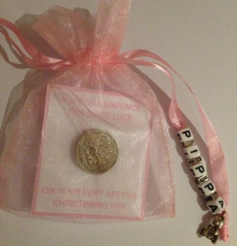 BABY GIRL PERSONALISED LUCKY SIXPENCE CHRISTENING DAY GIFT