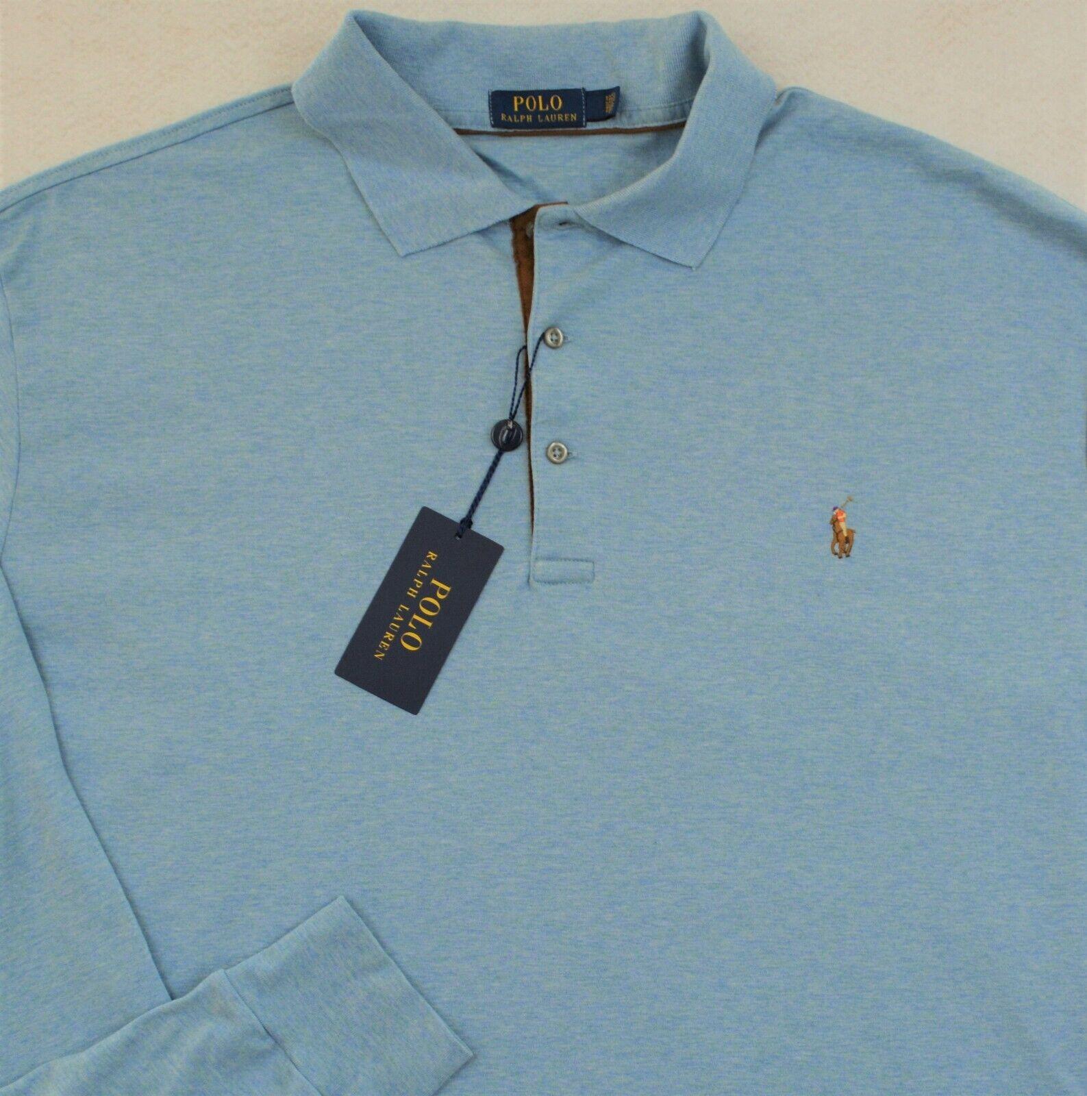 Polo Ralph Lauren Shirt Pima Soft Touch Long Sleeves bluee 2XLT 2XL Tall NWT
