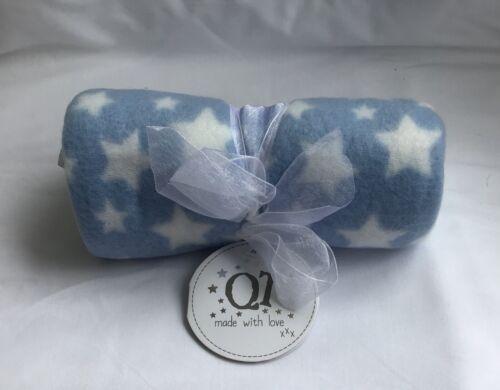baby blanket newborn soft fleece comforter boys blue white star checked stripe