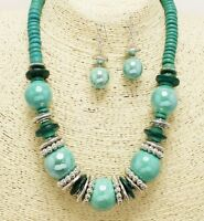 Light and Dark Green Bead and Silver Necklace Set