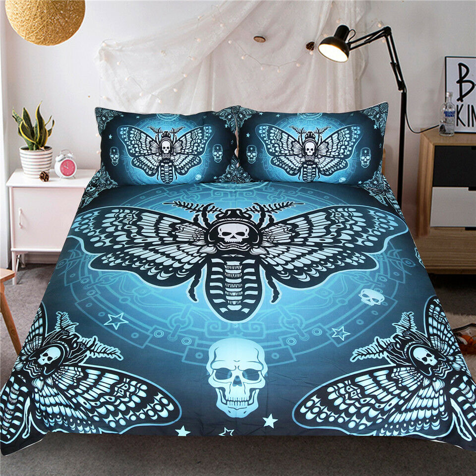 Death Moth Bettding Set Gothic Skull Duvet Startseite Butterfly Bettclothes Blau Stars