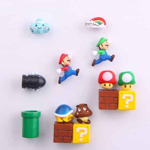 10pcs Super Mario Game 3D PVC Refrigerator Magnets Fridge Note Posted Sticker