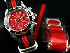 Invicta Men Submariner Pro Diver Red Chrono Strap Watch w/Extra Strap&Dive Case