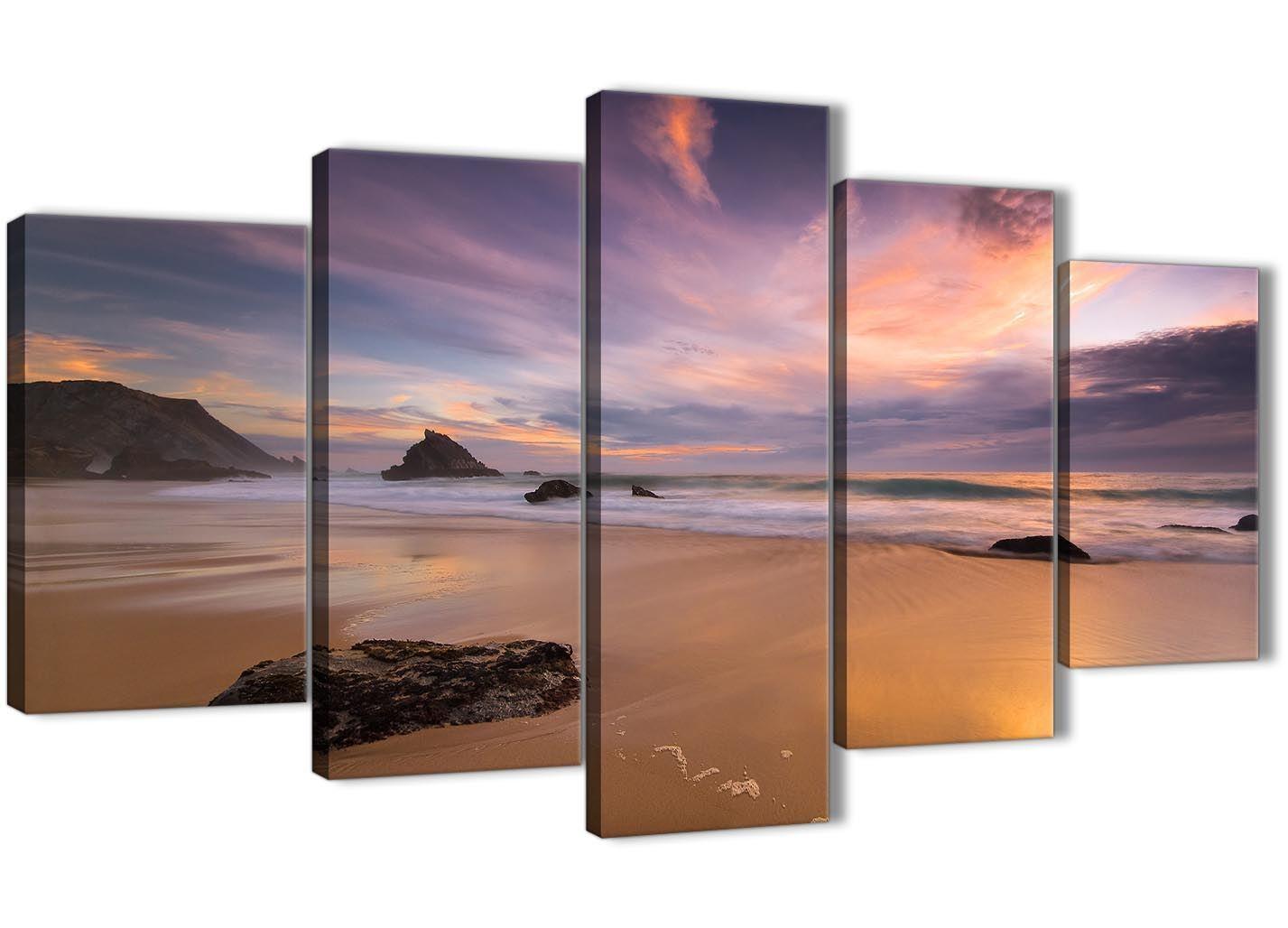 5 Part Canvas Pictures - Panoramic Landscape Beach Sunset - 5198 - 160cm