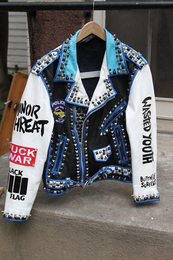 Mens Fashion Jackets Extreme Punk Style Studded Biker Leather Jacket All Größes