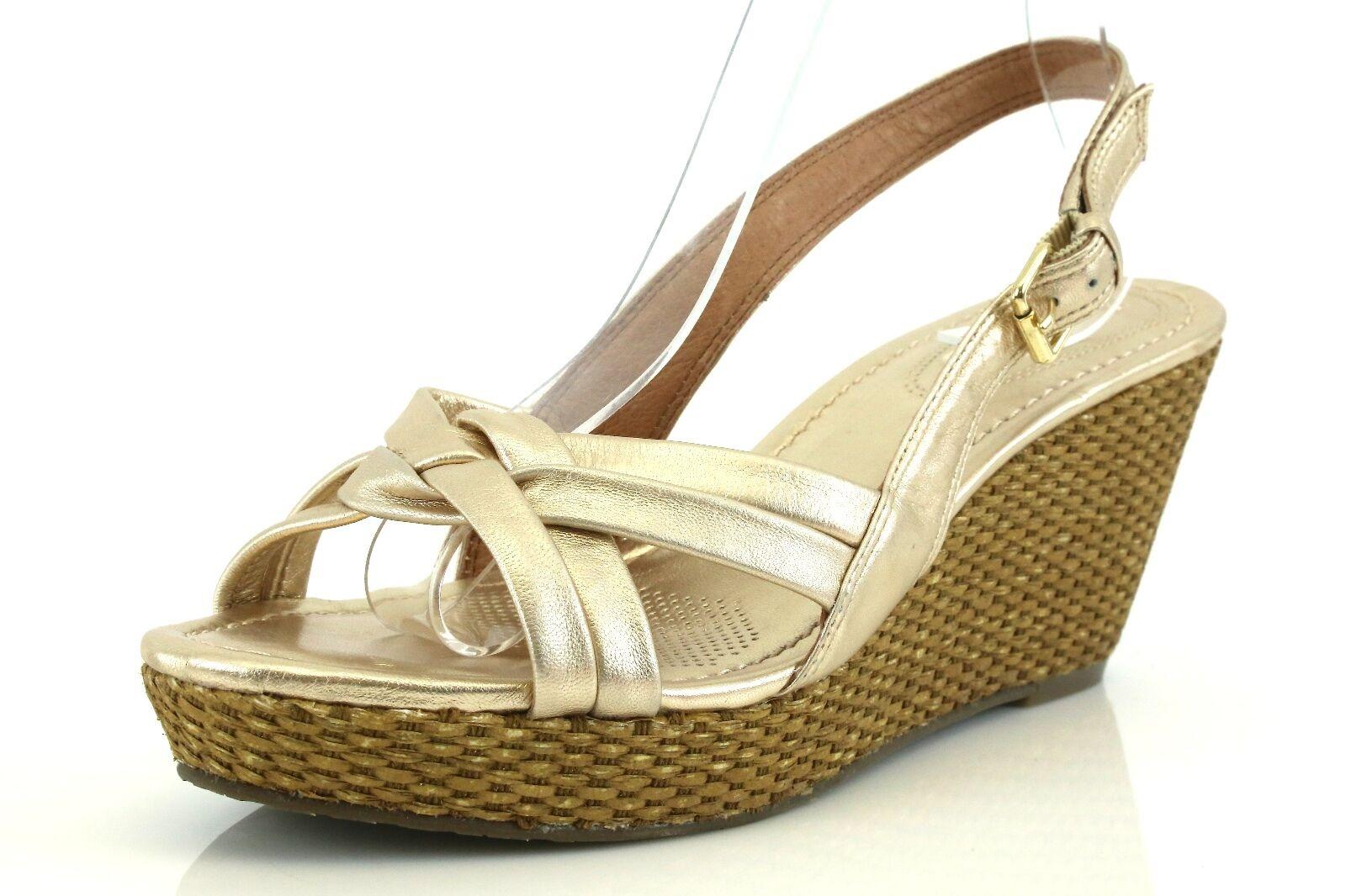 basta comprarlo Corso Como EUGENIA oro Leather Wedge Sandals Sandals Sandals 7099 Dimensione 11 M NEW   risparmia il 60% di sconto e la spedizione veloce in tutto il mondo