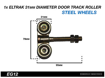 Eltrak Shed Door Track Roller 4 Wheel Steel Carriage 31mm