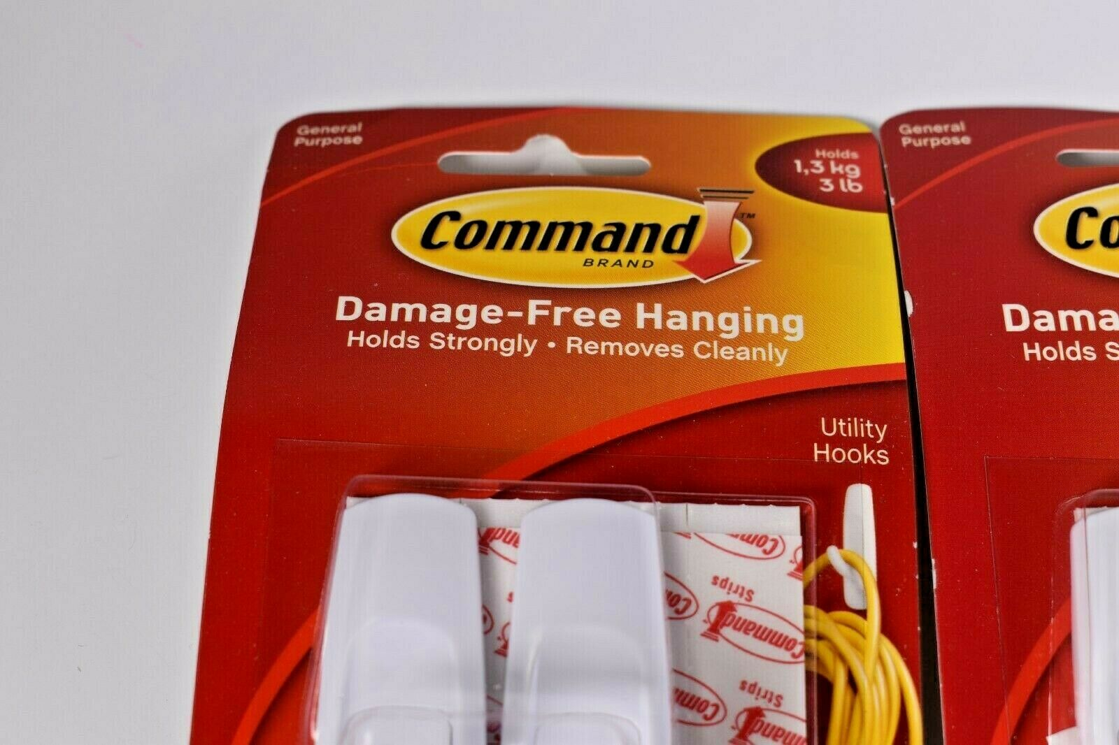 Command General Purpose Hooks 1lb Capacity Plastic White 8 Hooks 16 Strips