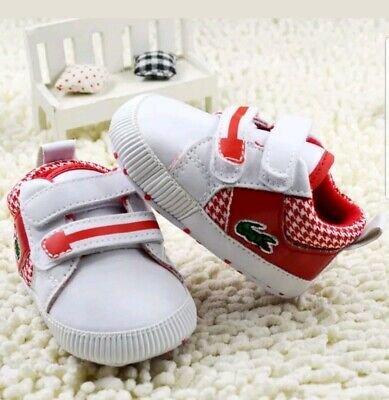 Chaussures Chaussons Bebe Taille 0 6 Mois Lacoste Rouge Blanche Neuve Ebay