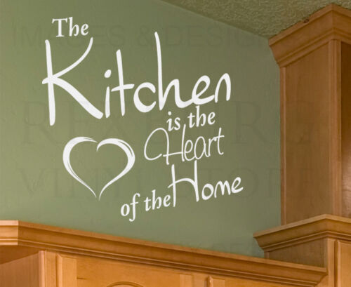 Wall Art Decal Sticker Quote Vinyl Mural Kitchen is the Heart of the Home KI42