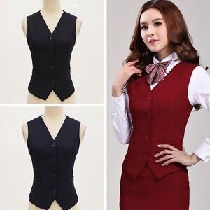 Women Vest Suit Flight Attendant Waistcoat Work Uniform Button