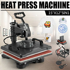 5 In 1 Heat Press Machine Swing Away T Shirt Mug Hat Transfer Sublimation 12x15