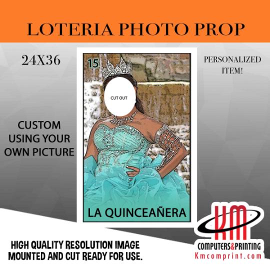 Loteria Mexicana La Quinceañera photo prop 24x36 board