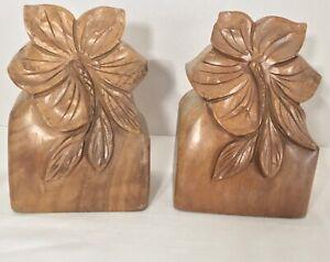 Vintage-Wood-Carved-Bookends-Hawaiian-Tiki-Polynesian-Hibiscus-Tropical-Decor