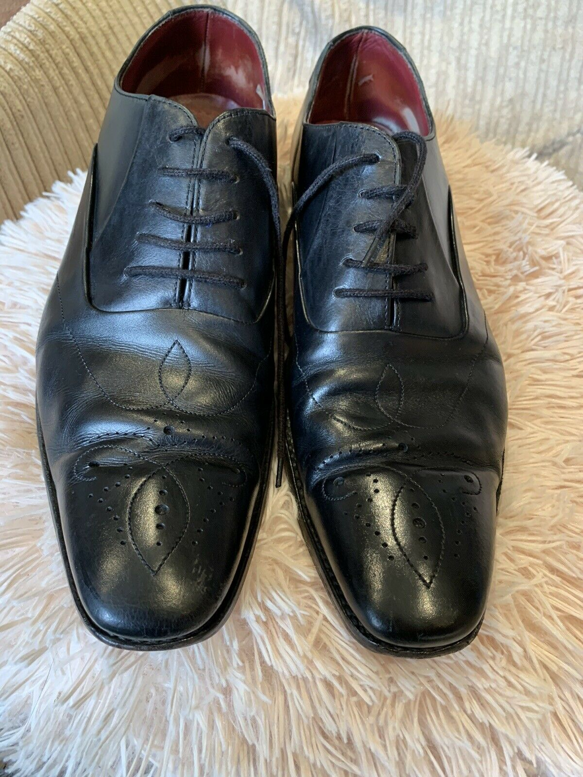 LOAKE Brogues Size 8.5 Black Leather Very Good Condition