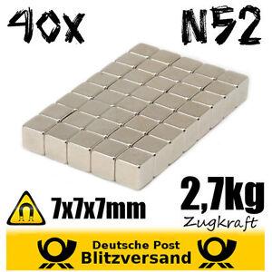 40x-Neodym-Magnet-Wuerfel-7x7x7mm-N52-magnetisch-Postkartenmagnet-Pinnwandmagnet