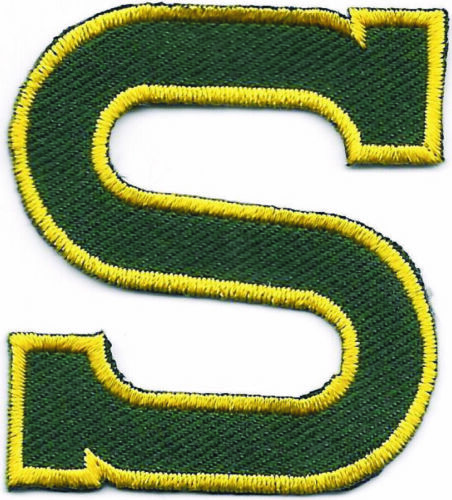 """2/"""" Yellow Edge Hunter Green Monogram Block Letter S Embroidery Patch"""