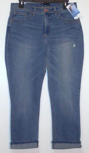 NWT Lee Easy Fit Distressed Stretch Crop Capri Jeans Size 4 6 12 Light Wash