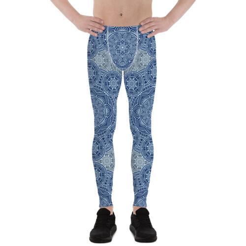Blue Mandala Homme Leggings Imprimé Sacred Geometry Pattern Workout Gym meggins