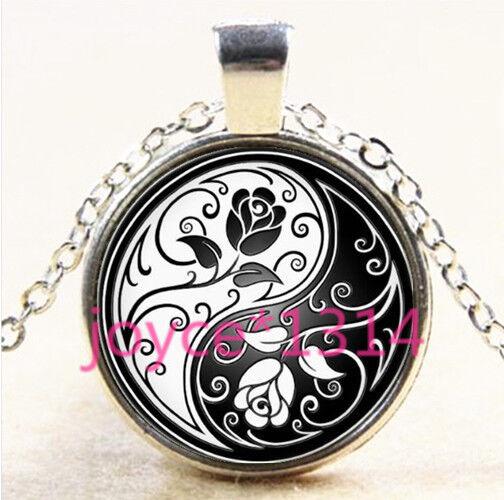 Yin Yang Blue Rose Cabochon Tibetan silver Glass Locket Pendant Necklace #4330