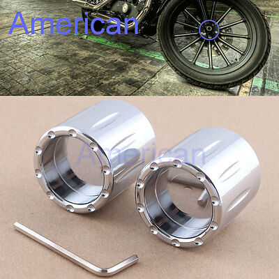 2pcs Contrast Cut Front Axle Nut Cover Bolt For Harley Touring Dyna Softail VRSC