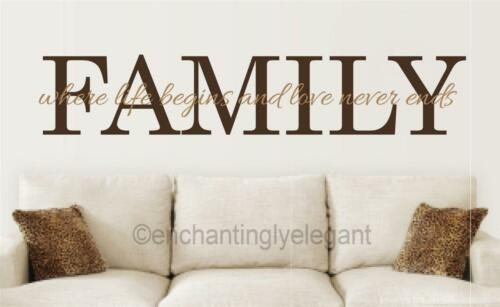 Family Where Life Begins Love Never Ends Vinyl Decal Wall Sticker Words Letters