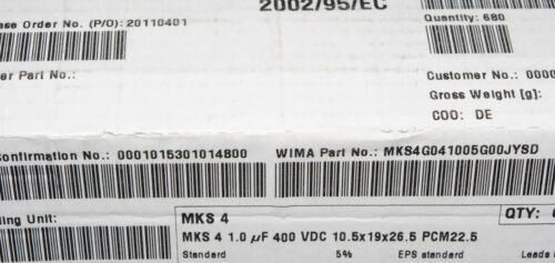 2pcs 1µF WIMA MKS4 1uF 400V 5/% pitch:22.5mm Capacitor MKS4G041005G00JSSD