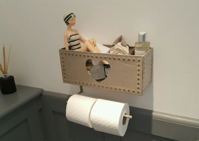 Toilet Paper Holder : Grey rustic shabby chic metal heart toilet roll holder with basket