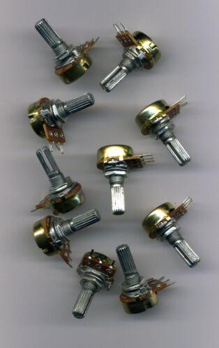 LOT DE 10 POTENTIOMETRES LINEAIRES 220 KOHM - AXE 6 mm