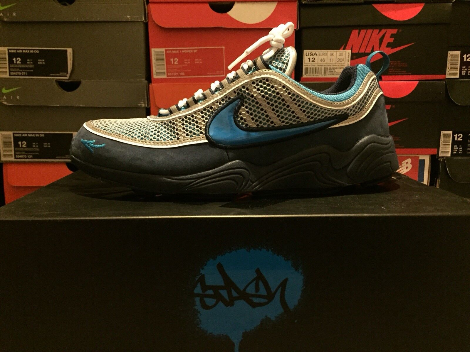 Men's Sz 12 Stash x Nike Air Zoom Spiridon 16 Blue Heritage Cyan AH7973-400 best-selling model of the brand