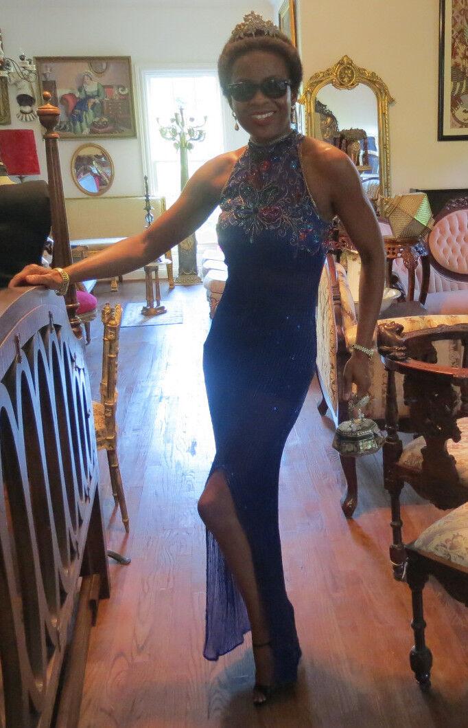 Couture Designer Heavy bluee gold beaded long long long Sheer Coat dress gown XS 0-2 b9f7ee