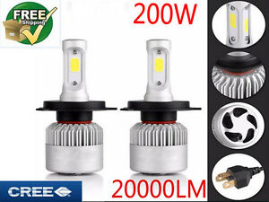 cree led phare kit 200w 20000lm ampoule lampe h4 h7 h11 h1 headlight 6000k blanc ebay. Black Bedroom Furniture Sets. Home Design Ideas