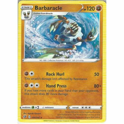 104//192 BarbaracleRare CardPokemon TCG Sword /& Shield Rebel Clash SWSH02